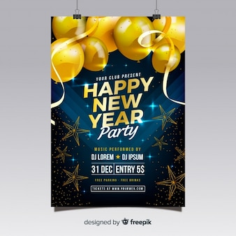 Realistic new year 2019 party flyer