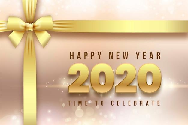 Реалистичная новогодняя открытка 2020 и ленты
