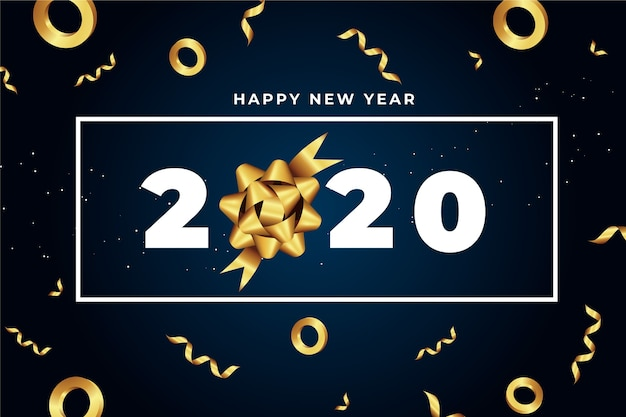 Realistic new year 2020 background with golden gift bow