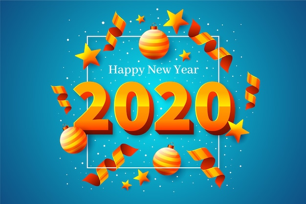 Realistic new year 2020 background