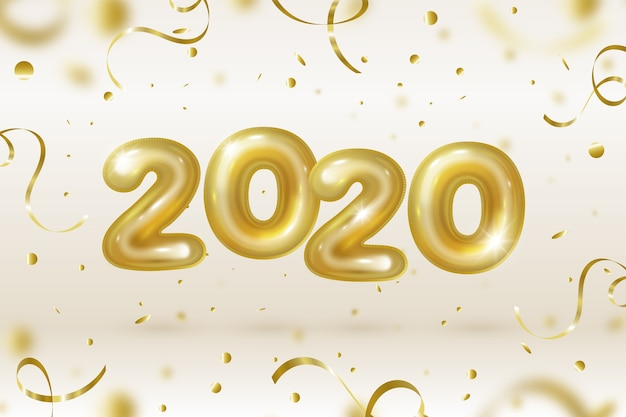Realistic new year 2020 balloons background