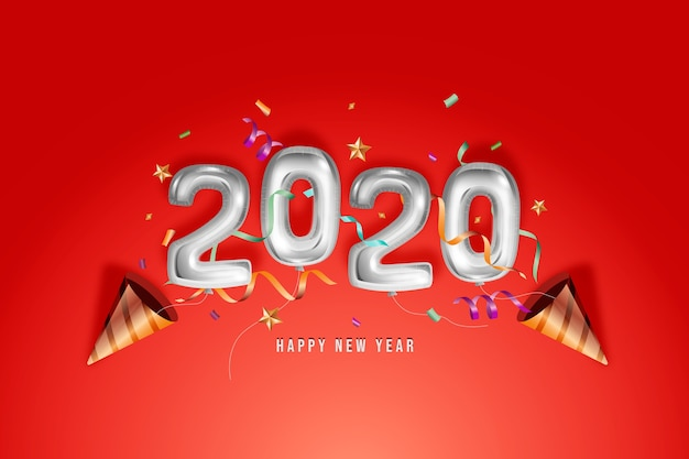 Realistic new year 2020 balloons design