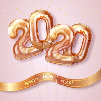 Realistic new year 2020 balloons wallpaper theme