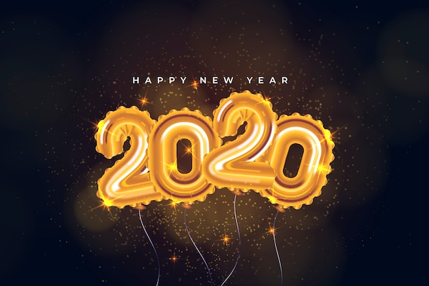 Realistic new year 2020 balloons wallpaper