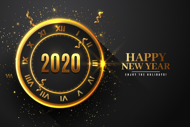 Realistic new year 2020 clock wallpaper theme