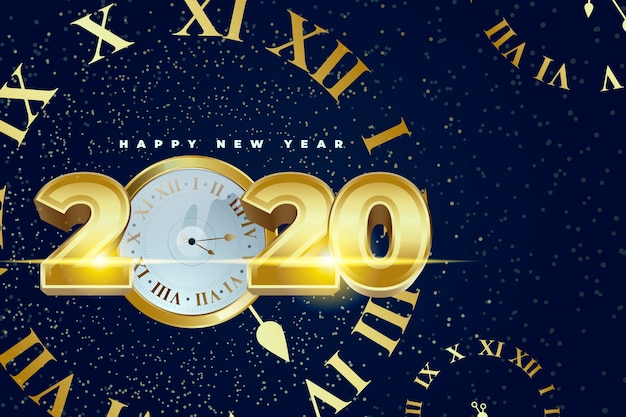 Realistic new year 2020 clock wallpaper
