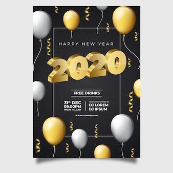 Modello di volantino realistico nuovo anno 2020