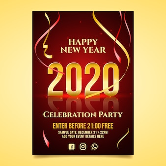 Realistic new year 2020 flyer template