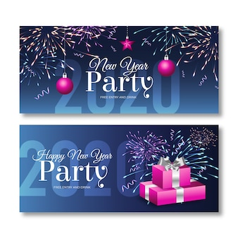 Realistic new year 2020 party banners pack