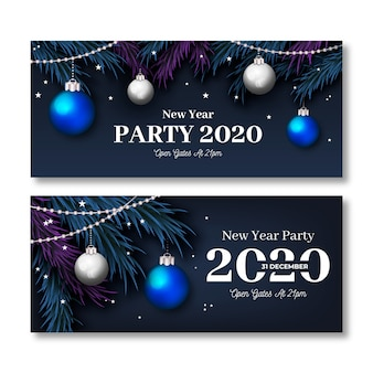 Realistic new year 2020 party banners set