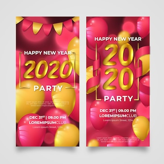 Realistic new year 2020 party banners template