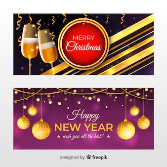 Realistic new year 2020 party banners with glasses of champagne