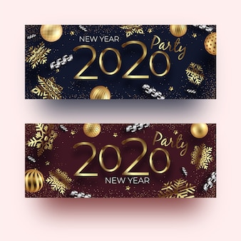 Realistic new year 2020 party banners