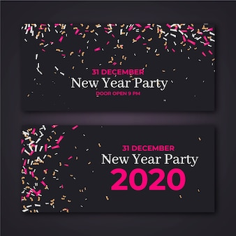 現実的な新年2020パーティーバナー