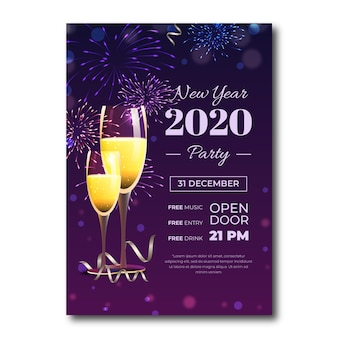 Realistic new year 2020 party flyer template
