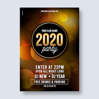 Realistic new year 2020 party poster template