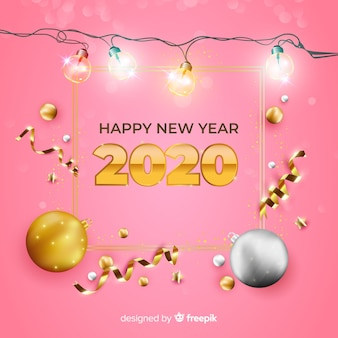 Realistic new year 2020 on pink background