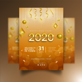 Realistic new year 2020 poster design