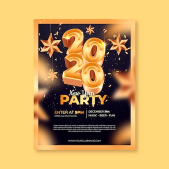 Realistic new year 2020 poster/flyer template