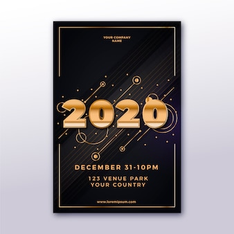 Realistic new year 2020 poster template