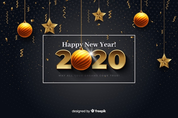 Realistic new year 2020 with balls and stars
