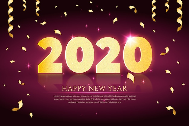Realistic new year 2020 with confetti and ribbon