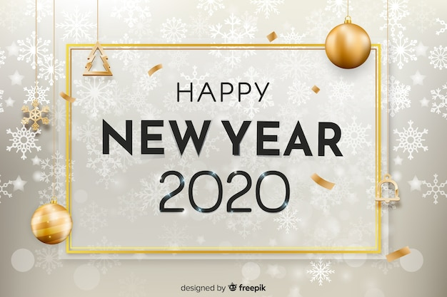 Realistic new year 2020 with snowflakes