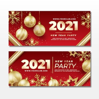 Realistic new year 2021 party banners template
