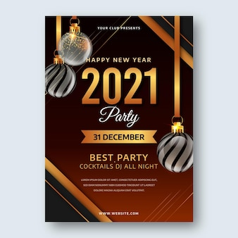 Realistic new year 2021 party flyer template