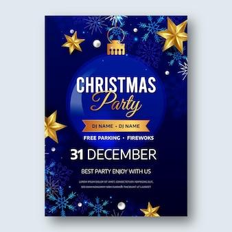 Реалистичный шаблон флаера для вечеринки на новый год 2021