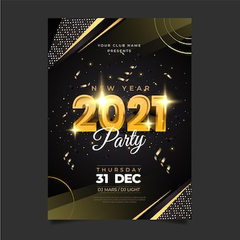 Realistic new year 2021 party poster template