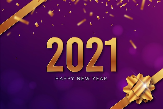 Realistic new year 2021 with ribbon