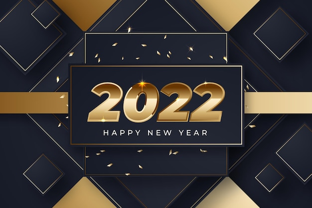 Realistic new year backgroundwith gold