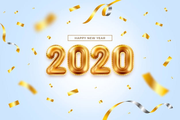 Realistic new year balloons background