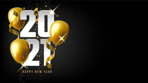 Realistic new year banner with golden balloons and confetti