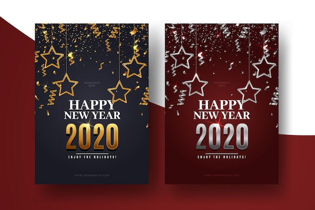 Realistic new year flyer template