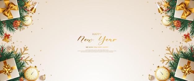 Реалистичная новогодняя открытка с подарками и ветками