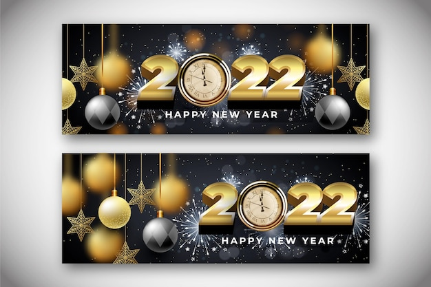 Реалистичные новогодние горизонтальные баннеры