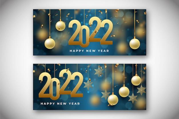 Set di banner orizzontali realistici per il nuovo anno
