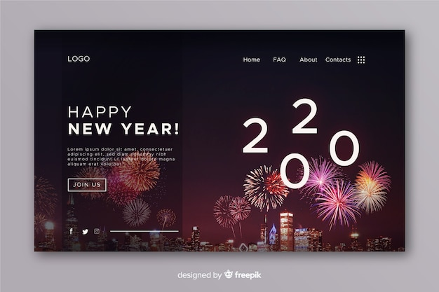 Realistic new year landing page and fireworks