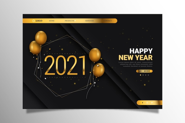 Realistic new year landing page template