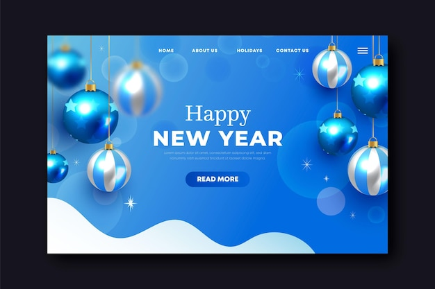 Realistic new year landing page