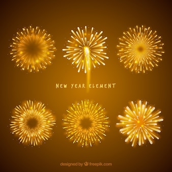 Realistic new year party element collection with fireworks