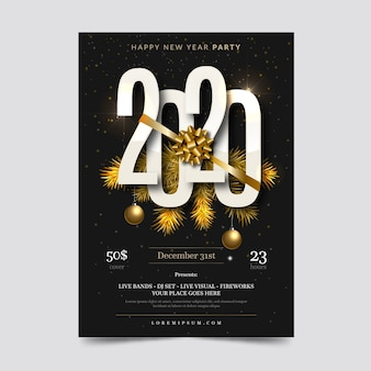 Realistic new year party flyer template