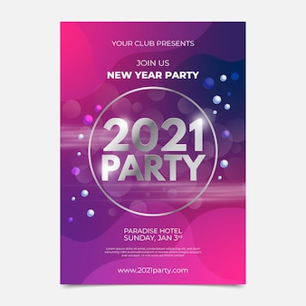 Realistic new year party poster template