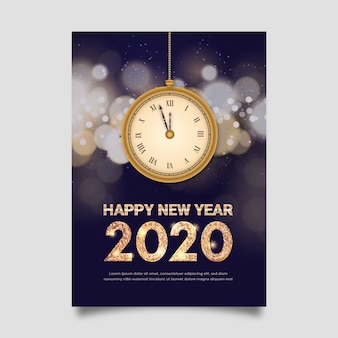 Realistic new year poster template