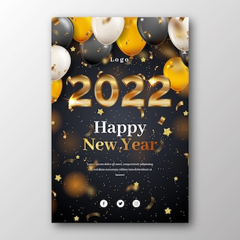 Realistic new year vertical poster template