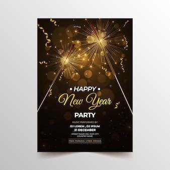 Modello di poster verticale realistico per il nuovo anno