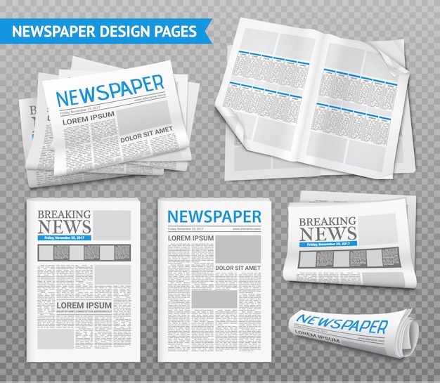 Realistic newspaper transparent set
