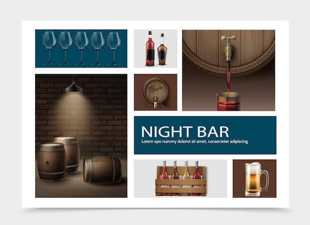 Реалистичная композиция элементов ночного бара с рюмками, бутылками в коробке, кружкой морозного напитка, деревянными бочками с вином и пивом